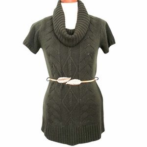 Olive green cable knit tunic sweater